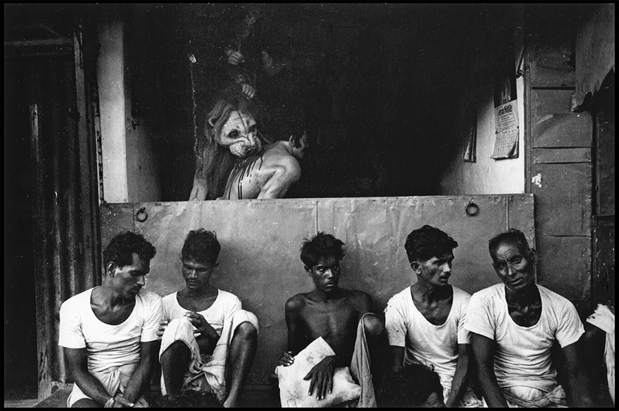 Workers resting before Durga Puja image, Calcutta, 1972