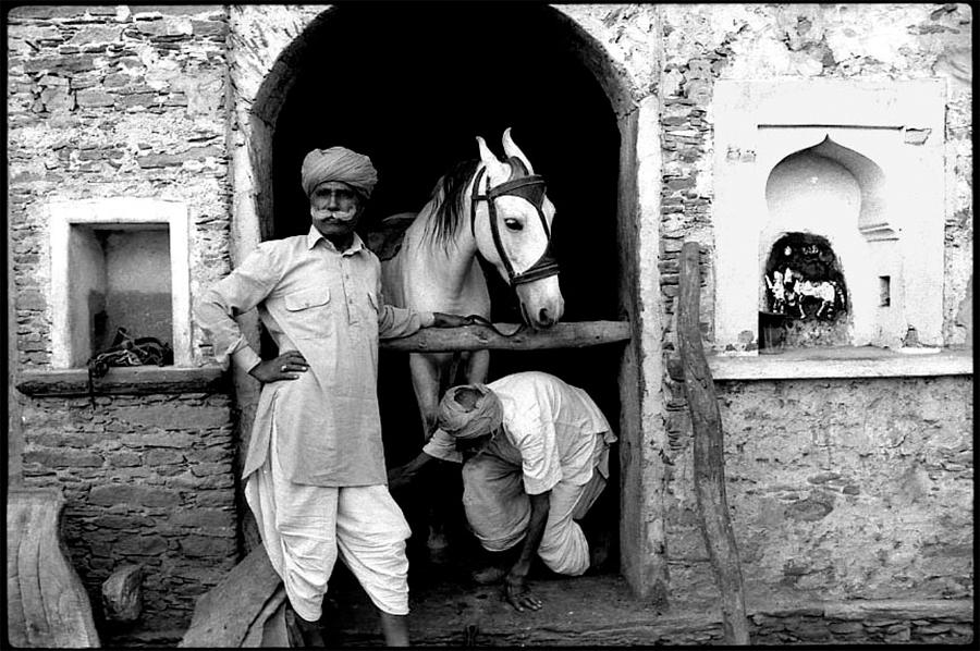 Rajput landowner and horse deity, Mewar, Rajasthan,  1977