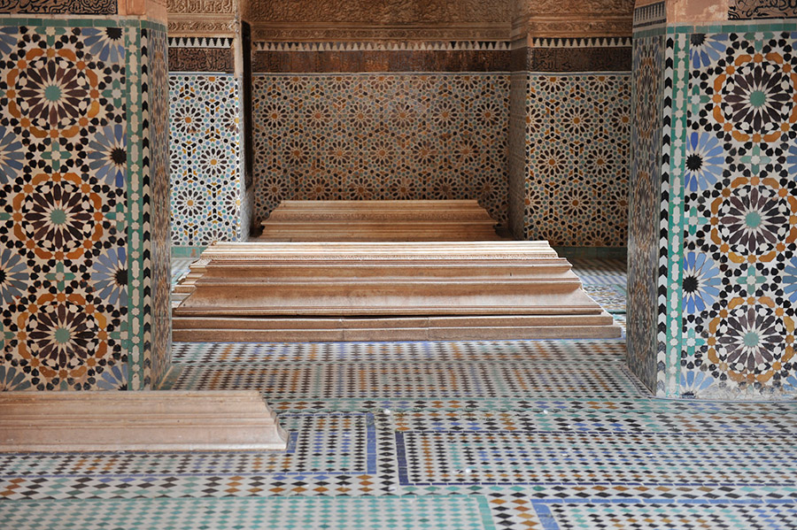 The Saadian tombs, covered with zelij ceramic tiles, date back to the time of the sultan Ahmed al-Mansur Saadi (1578-1603), Marrakech, 2012