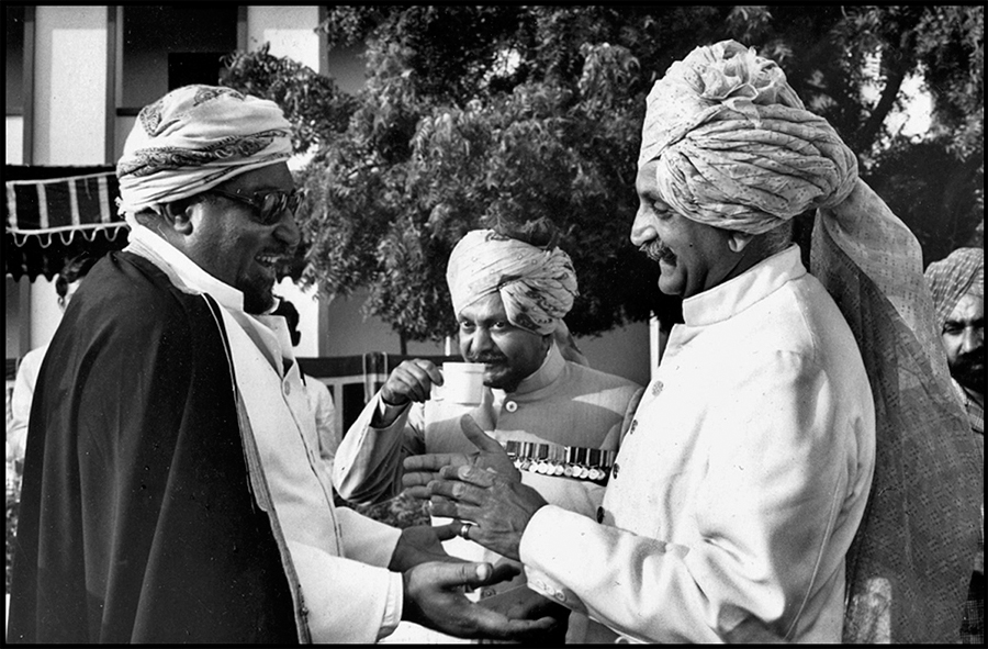 Sayed Tarik, uncle of the Sultan of Oman, greets a friend at the Mayo college centennial celebration, Ajmer, Rajasthan, 1976