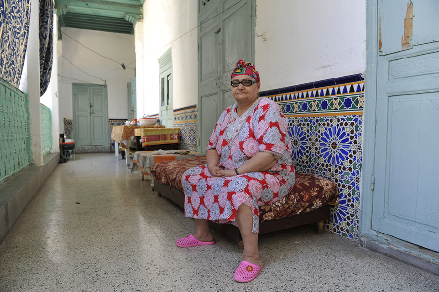 Ms. Ouaknin Masel, a resident of the Corcos mansion for low-income old age pensioners, Marrakech, 2011