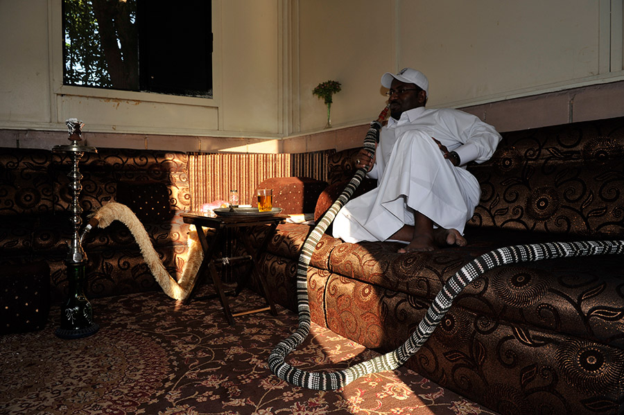 Smoking the shisha, Jeddah, Saudi Arabia, 2011