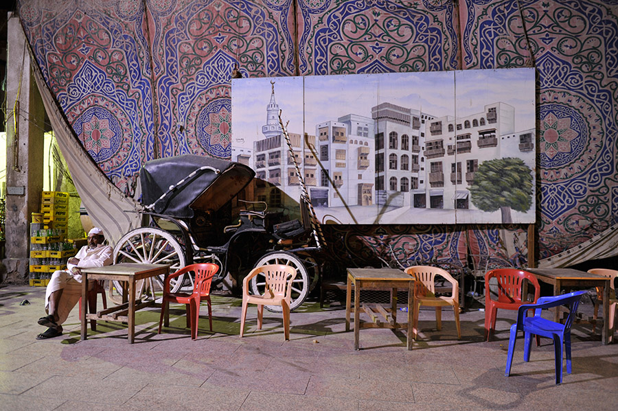 Open air Egyptian café, Al Balad, Jeddah, Saudi Arabia, 2011