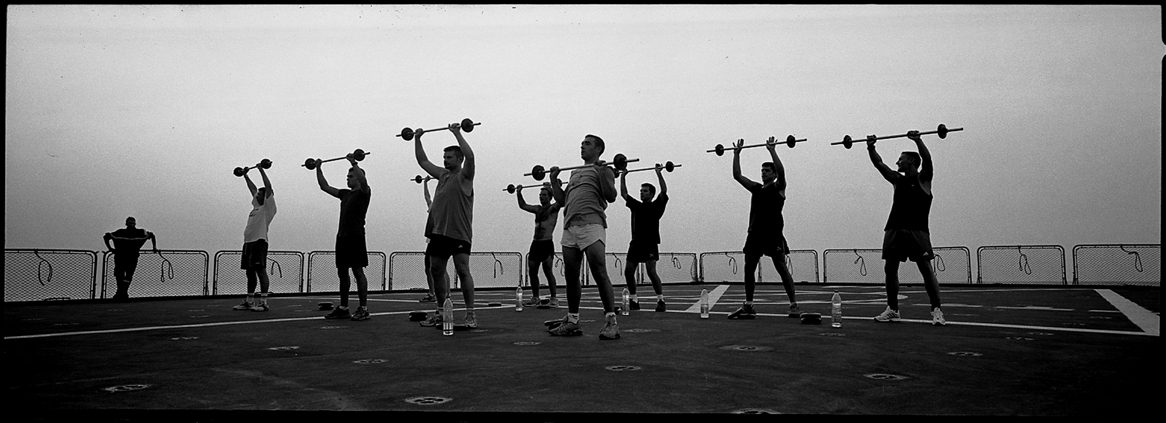 Weightlifting at dusk