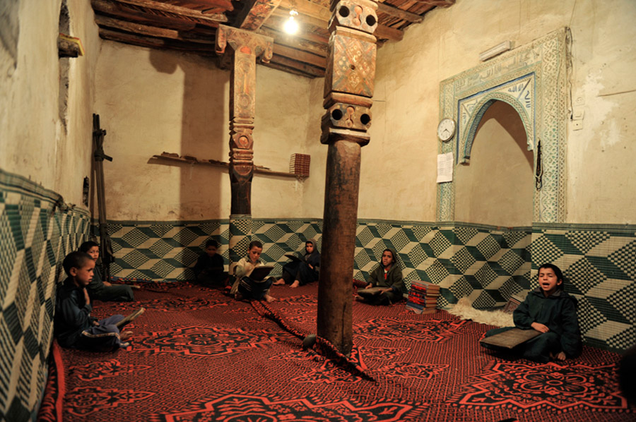 Little boys learning the Koran in the mosque of a Berber village in the High Atlas, 2012