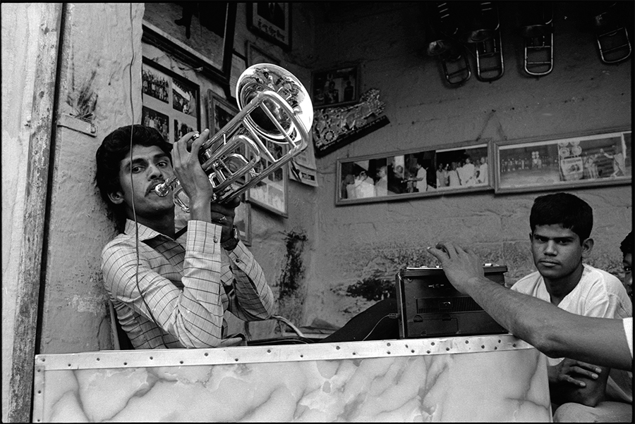 Playing the trumpet, Jodhpur, Rajasthan, 1988