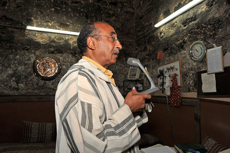 Mr. Moulay Hassan Muezzin of the Koutoubia issuing the call to prayer, Marrakech, 2011