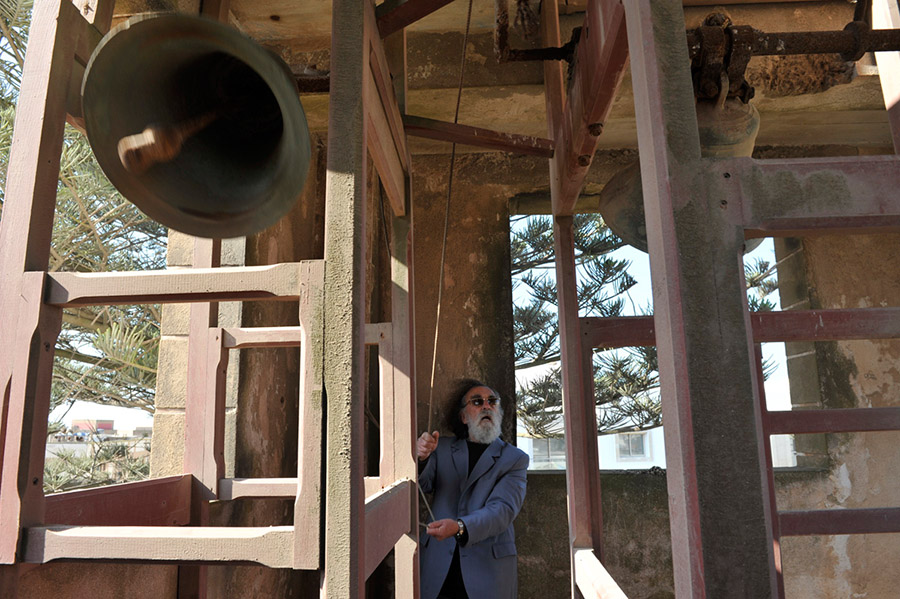 Father Jean-Claude Gons ringing the bells of NOtre Dame de l'Assomption by special authorization issued in 1986 on the occasion of the Pope's visit to Morocco, Essaouira, 2012
