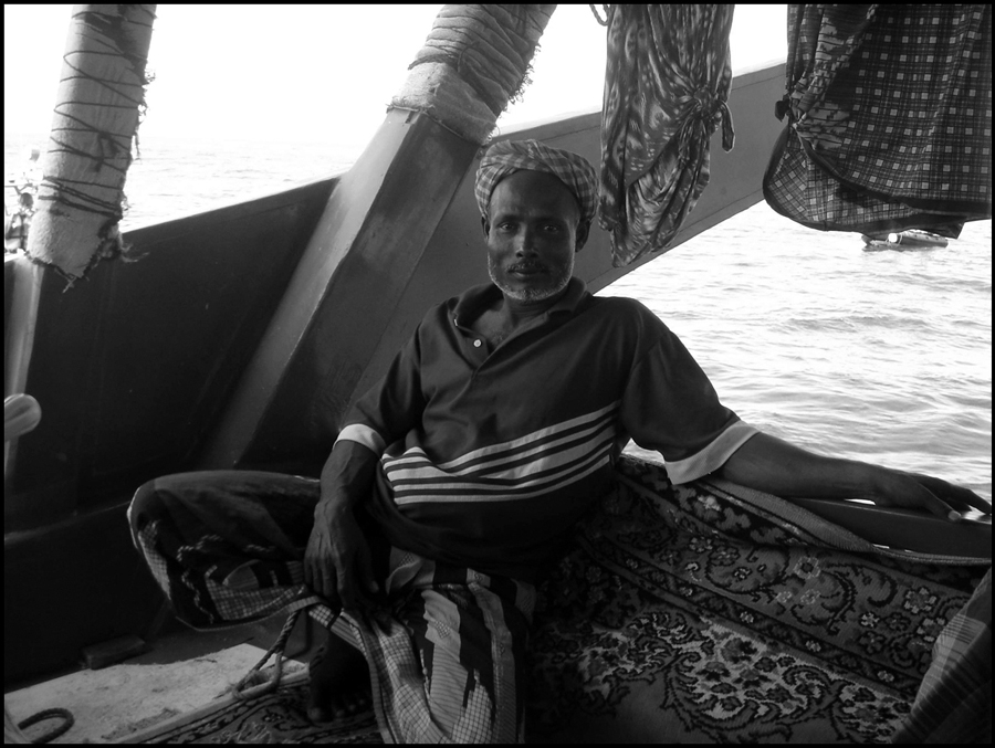 Omanese fisherman on dhow