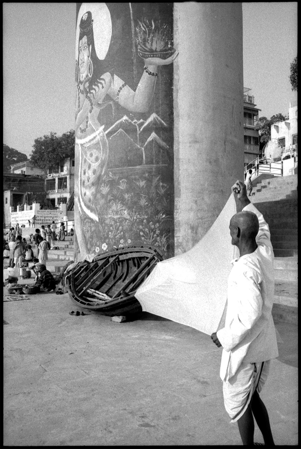 Drying a dhoti on ghat and Shiva image, Benares, 1986