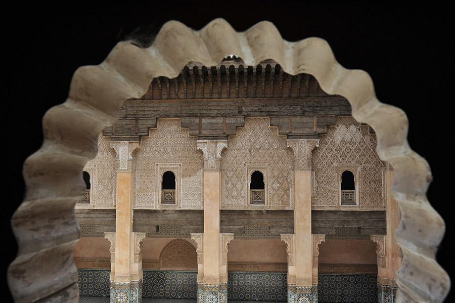 Medersa Ben Youssef, jewel of the Hispano-Moorish style, was built by the merenid Sultan Abu al-Hassan (c.1288-1351), Marrakech, 2010