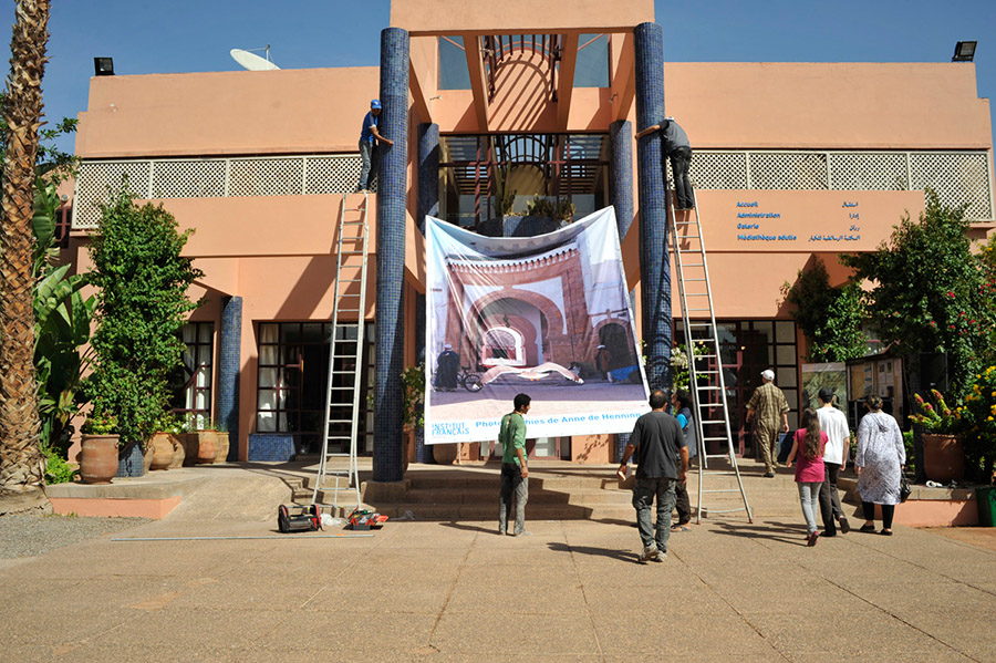 Installation of the show at Institut Francais de Marrakech, Marrakech, 2012