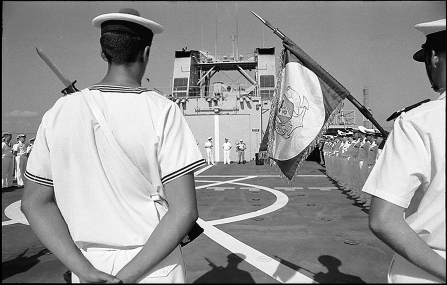 Admiral Jacques Mazars passing command of TF 150 to a Dutch Commodore, Djibouti