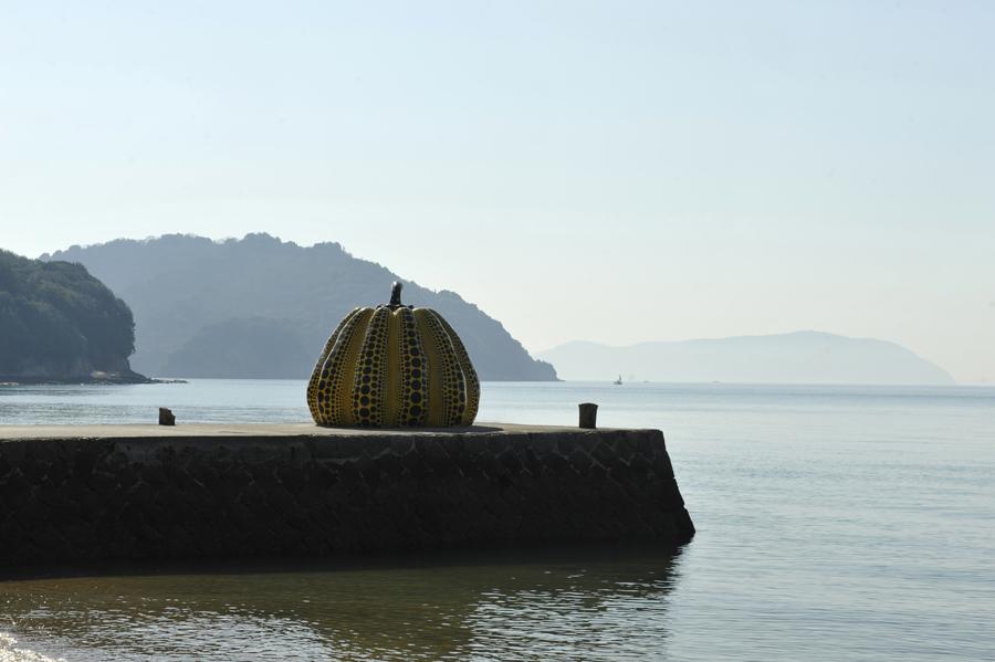 Yayoi Kusama pumpkin, Benesse Foundation, Naoshima, Japan, 2015